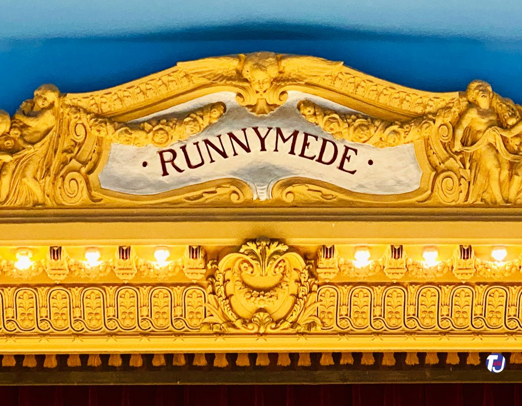 """2020 - Decorative """"RUNNYMEDE"""" sign over the stage"""