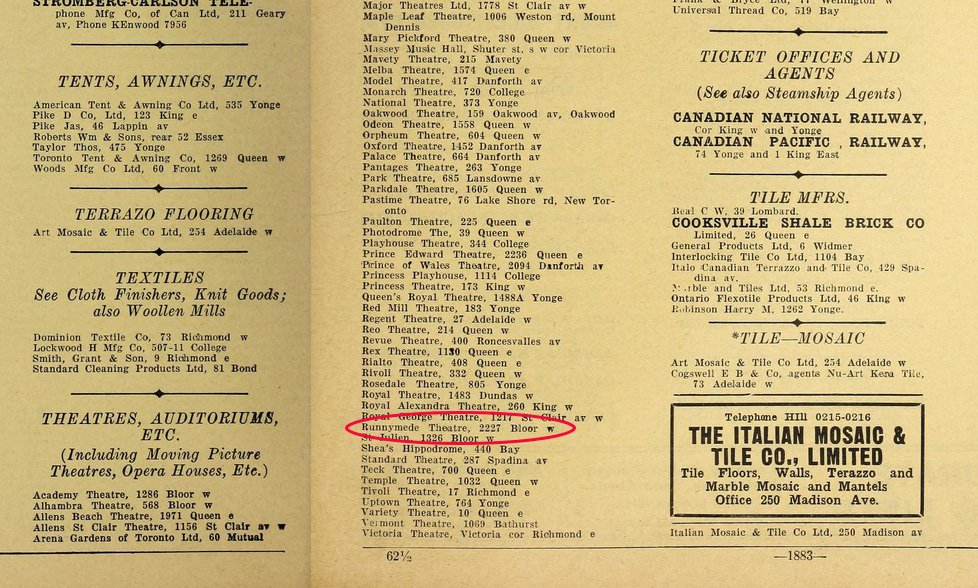 1928 - Toronto City Directory showing the Runnymede Theatre however the address is 2227 Bloor St W