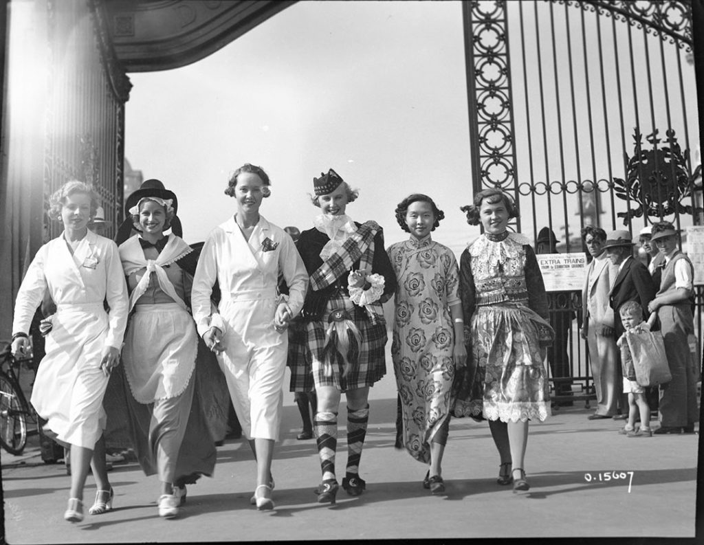 1930 - Ladies in costume passing though the second Dufferin Gate at the Canadian National Exhibition