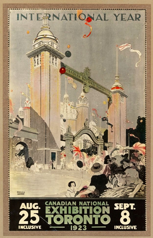 1923 - Poster from the Canadian National Exhibition with the second Dufferin Gate showcased