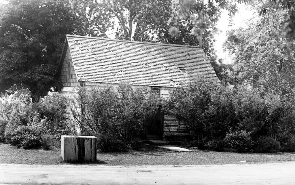 1928 - The Scadding Cabin at Exhibition grounds, looking northwest