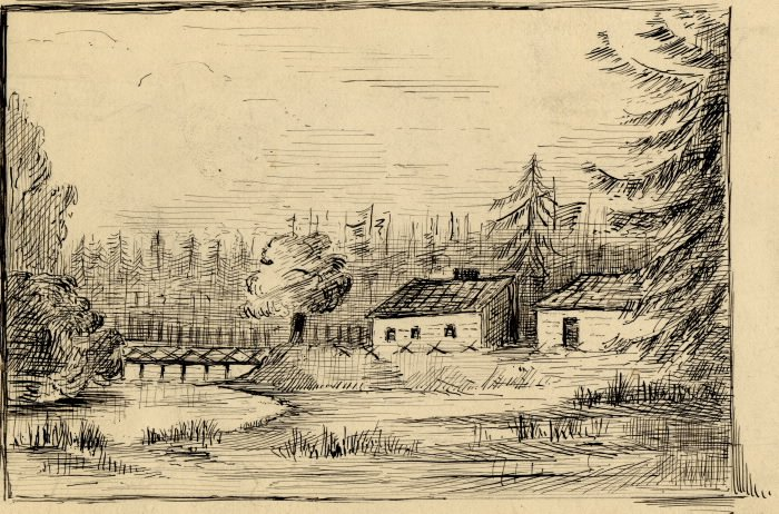 1795 - The Scadding Cabin, south of Queen St E and bridge over the Don River, from a sketch by Elizabeth Simcoe