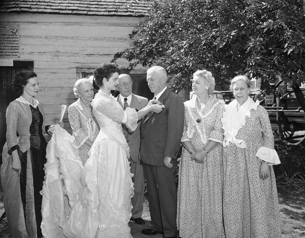 1950's - JA Northley, CNE President with women in historical costumes