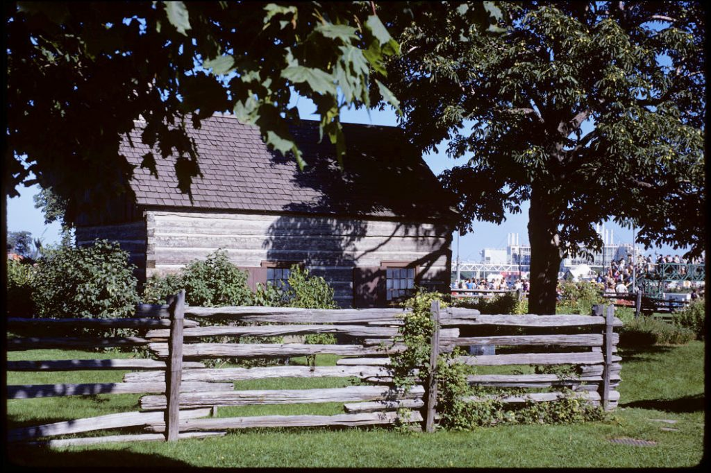 1972 - The Scadding Cabin, looking southeast towards Lake Shore Blvd W and Ontario Place