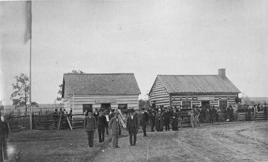 1880's - The then Simcoe Cabin (later renamed the Scadding Cabin) and the Lorne Cabin at Exhibition grounds