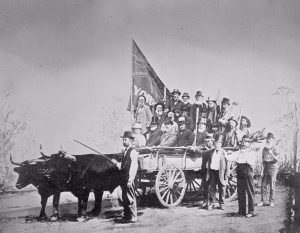 1879 - The York Pioneers on their way to Exhibition grounds to reconstruct the Scadding Cabin
