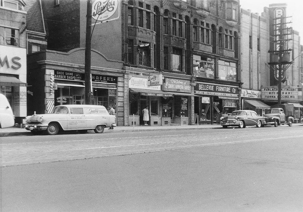 1958 - View of College St, near Bellevue Ave looking northeast