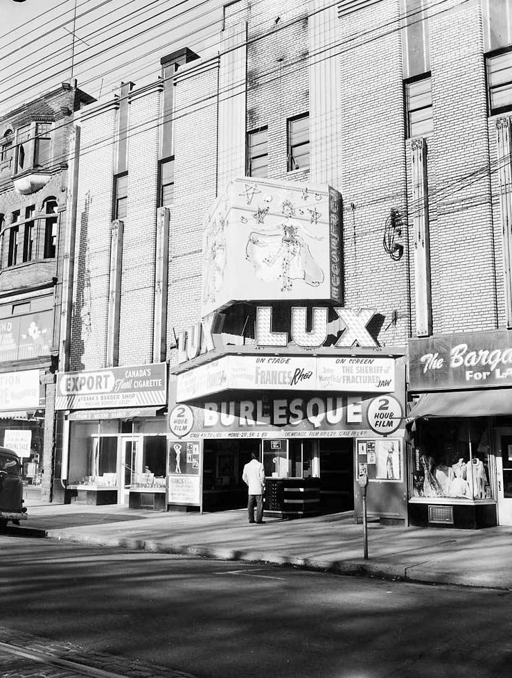 1960 - The Lux Burlesque Theatre on College St, just west of Brunswick Ave