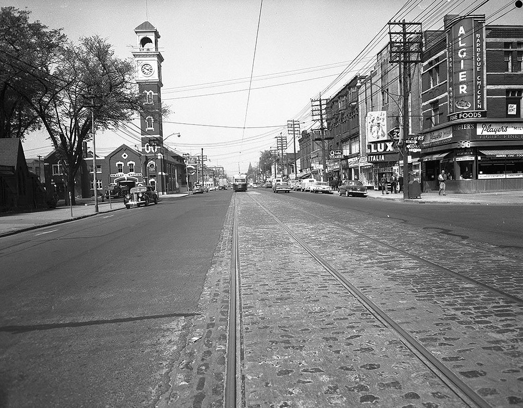 1960 - View of College St looking west across Brunswick Ave - the Lux on right and the historic No. 8 Hose Station on left