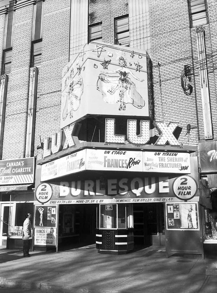 1960 - The marquee and box office of the Lux Burlesque Theatre