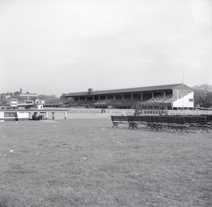 1955 - Looking northeast towards the track and grandstand of Dufferin Park Racetrack