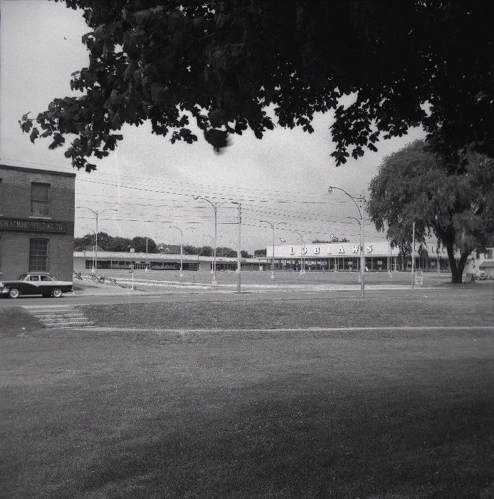 1957 - Looking northwest across Dufferin St from the park towards Dufferin Plaza