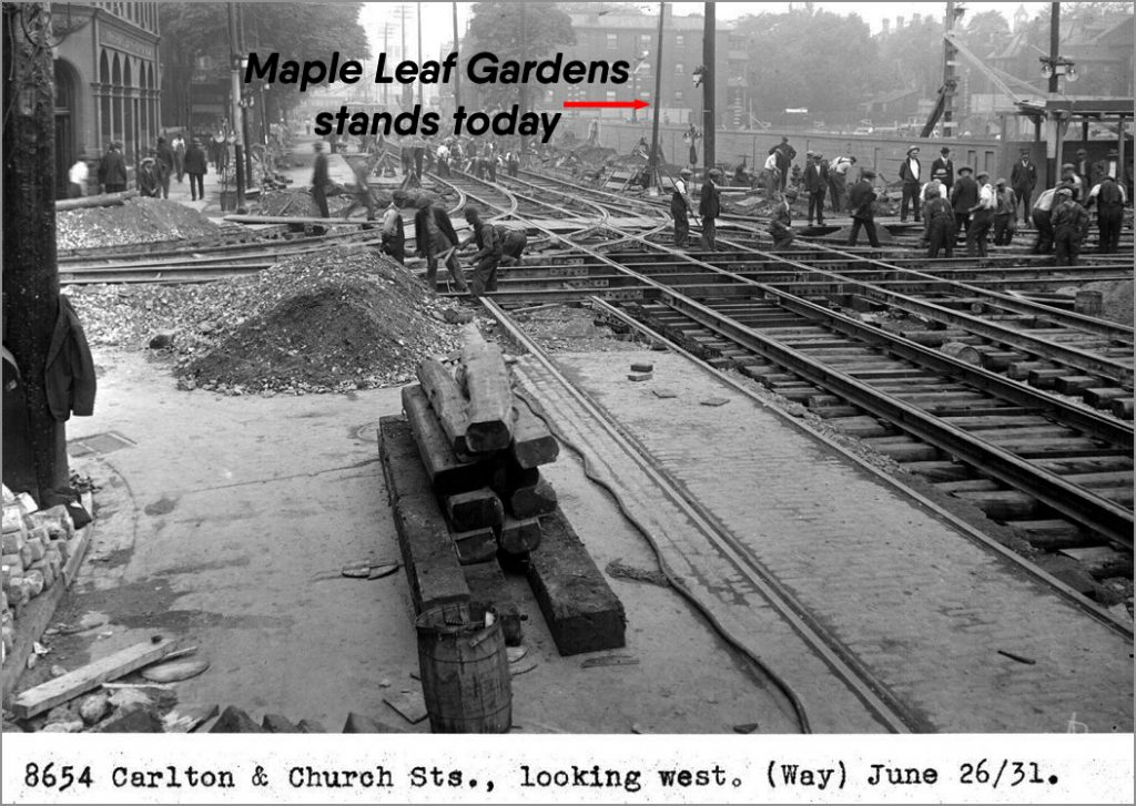 June 1931 - Beginning construction of Maple Leaf Gardens and laying track at Carlton & Church Sts, looking northwest