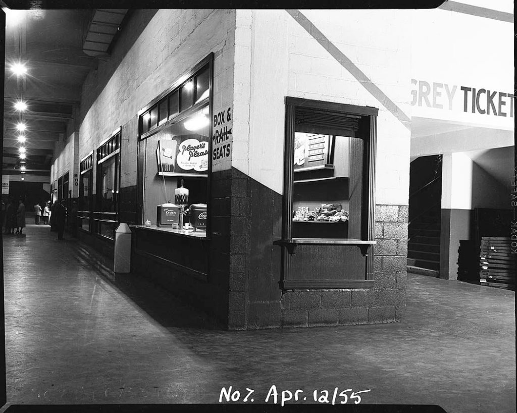 1955 - Corridor, concession booth and stairs to the Greys at The Gardens
