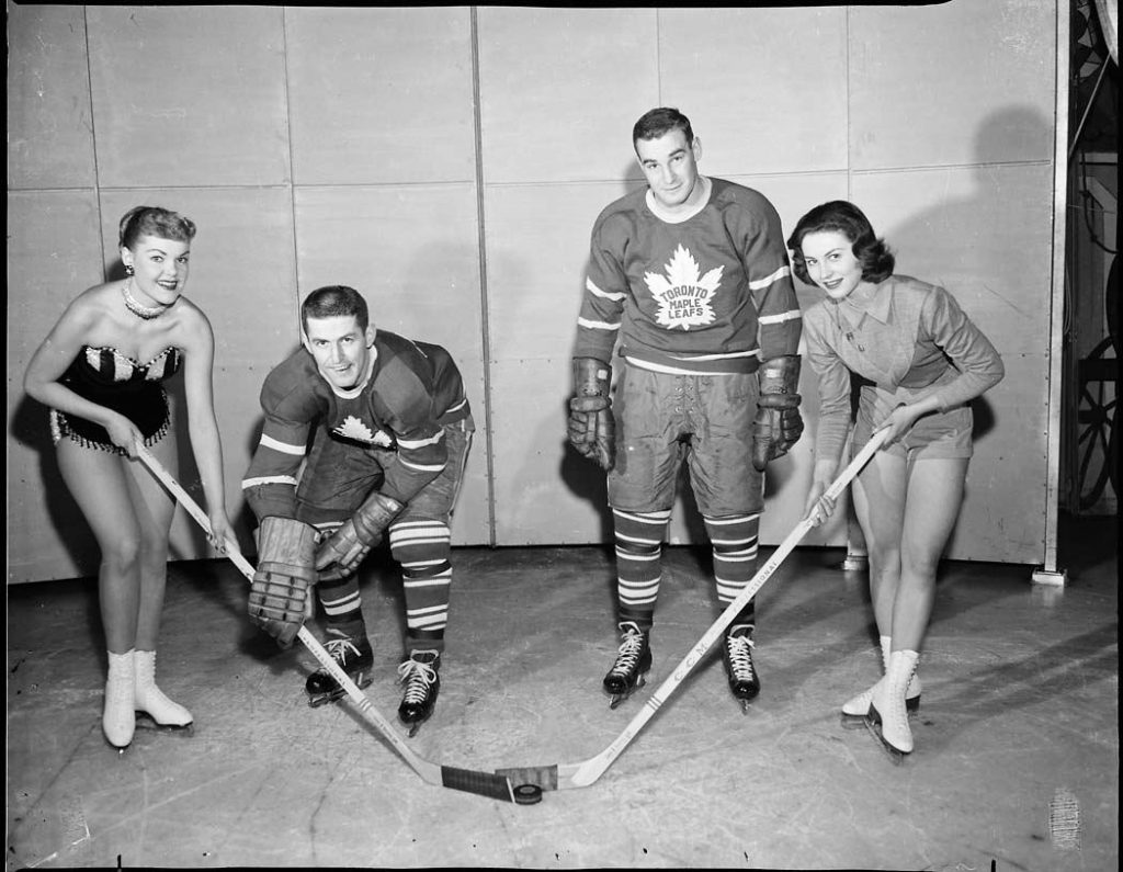 1950's - Ice show performers with Toronto Maple Leafs players