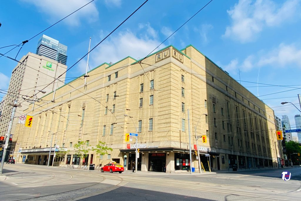 2021 - Maple Leaf Gardens and today home to Loblaws and Mattamy Athletic Centre at Carlton & Church Sts, looking northwest