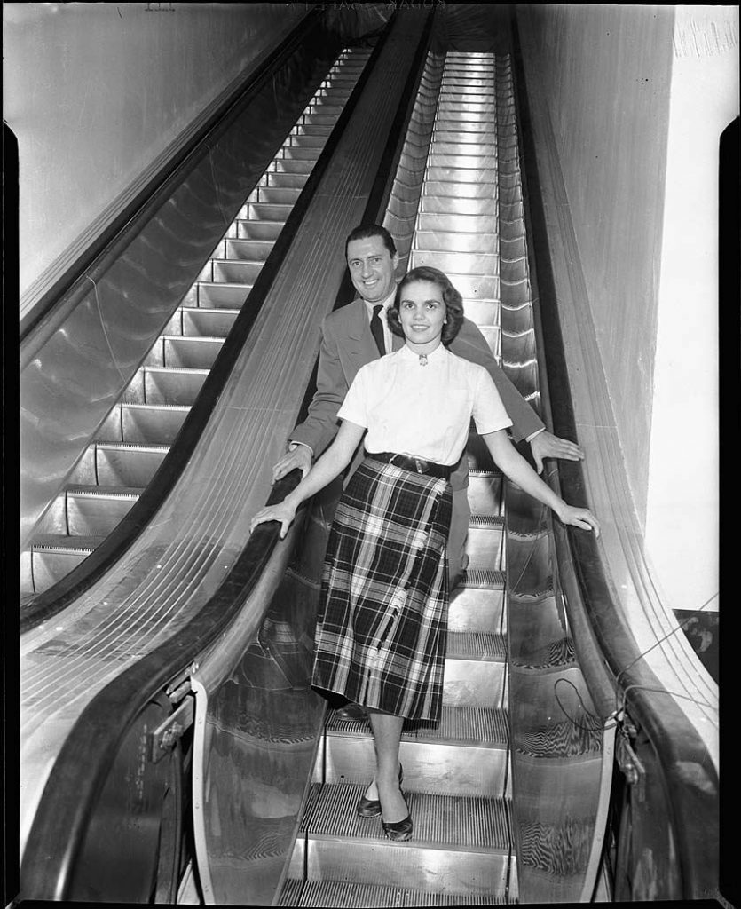1950's - Testing out the new escalators at The Gardens