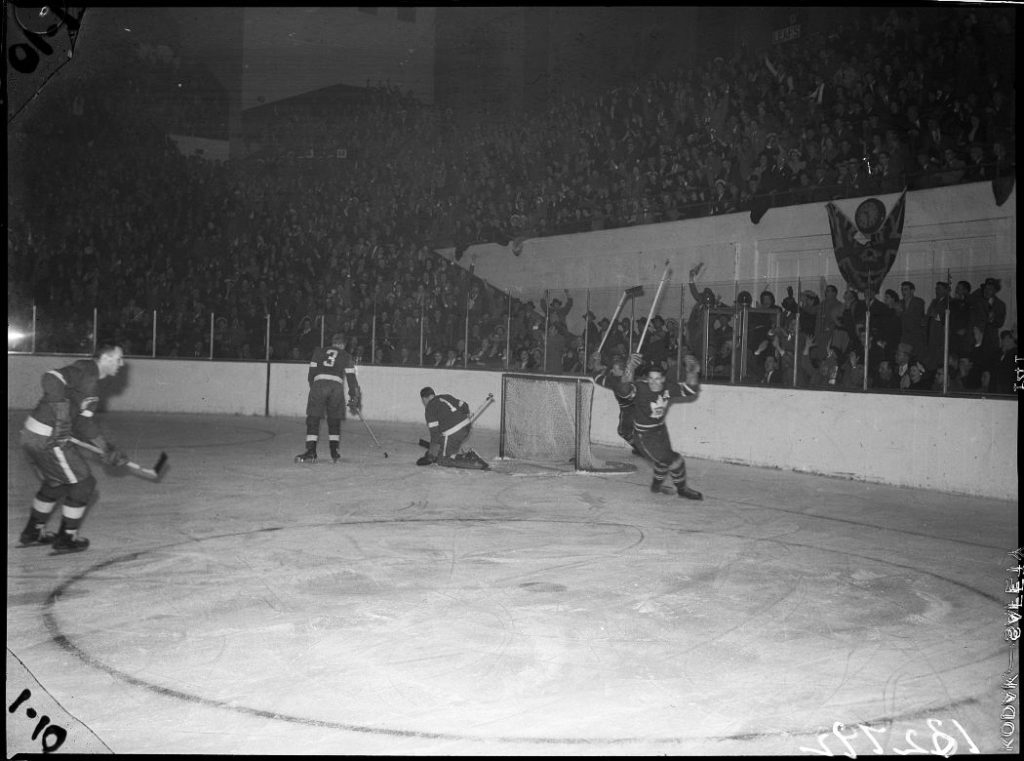 1949 - Toronto Maple Leafs scoring against the Detroit Red Wings during a Stanley Cup playoff game