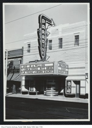 1937 - The Paradise Theatre at Bloor St W & Westmoreland Ave, looking northwest
