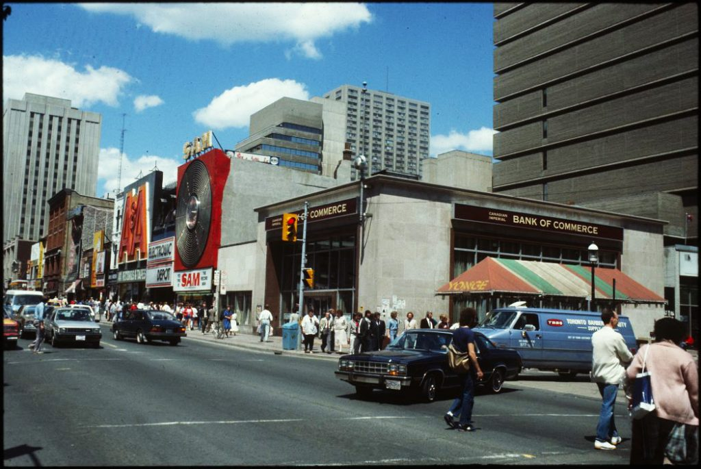 1979/81 - CIBC, Sam's and A&A's on Yonge St, looking northeast towards Gould St