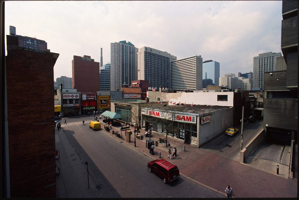 1983/92 - An aerial view of Gould St, looking northwest towards Yonge St