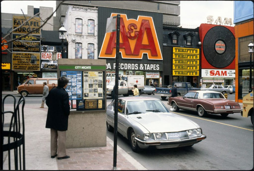 1980's - A&A's, Thrifty's and Sam's on Yonge St, looking southeast from Elm St