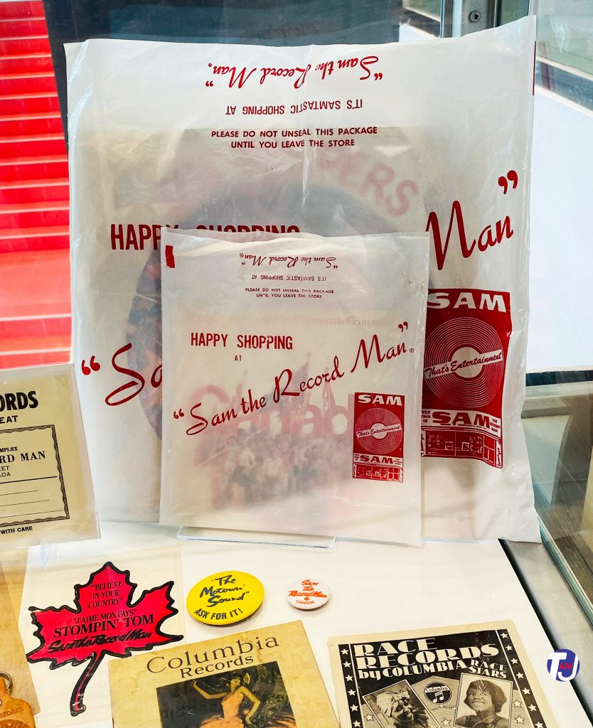 Sam the Record Man shopping bags and memorabilia displayed at the Friar's Music Museum