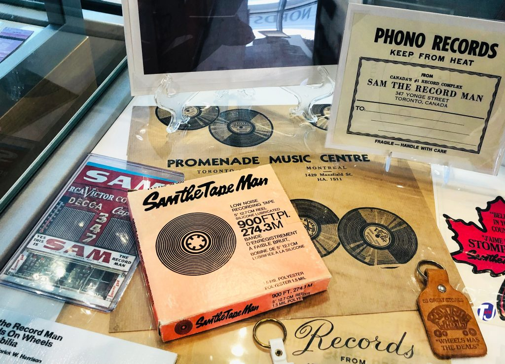 Sam the Record Man recording tape, photo and memorabilia displayed at the Friar's Music Museum