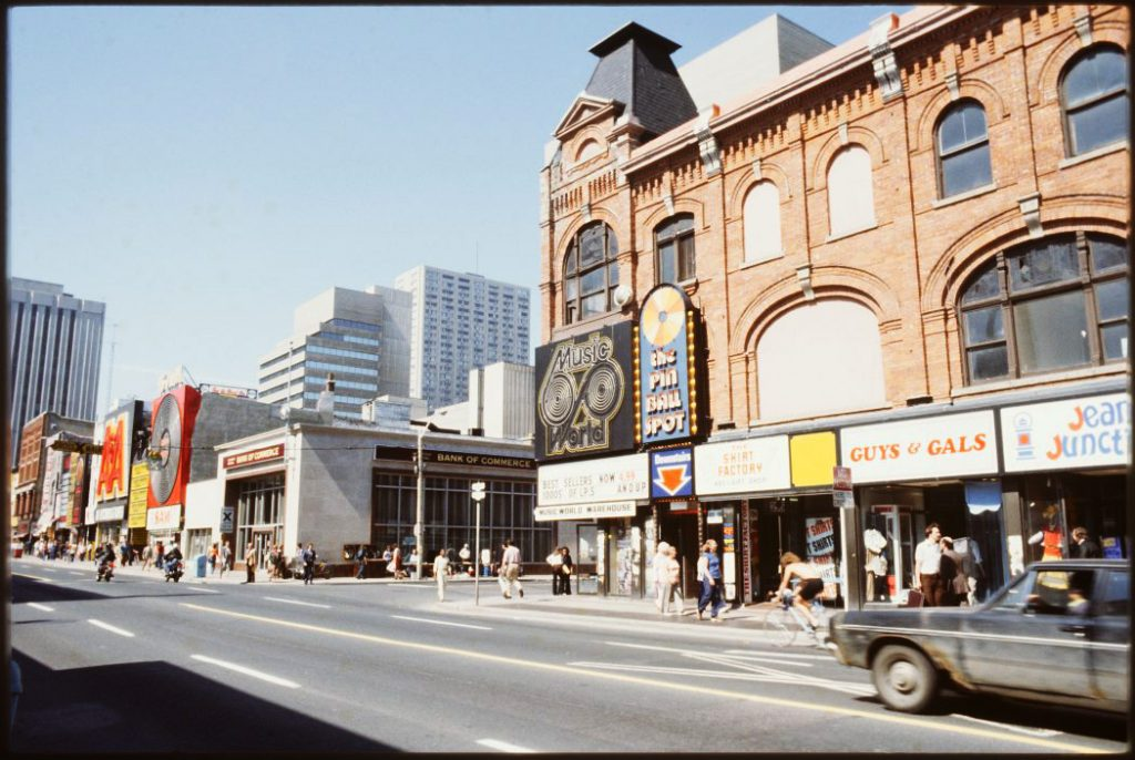 1978/80 - A&A Records, Sam the Record Man and Music World on Yonge St, looking northeast toward Gould St