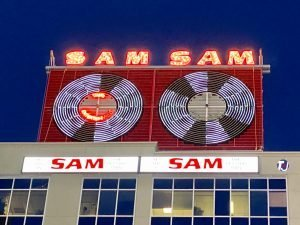 2019 - Sam the Record Man signs on a building at 277 Victoria St