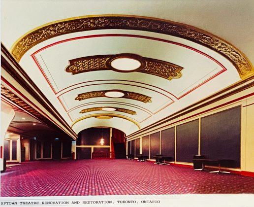 1970 - The interior hallway of the renovated and restored Uptown Theatre (photo of photo taken at City of Toronto Archives, Fonds 122, Series 881, File 128, Mandel Sprachman Architect)