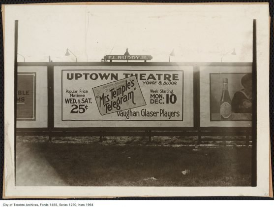 1920/24 - A billboard for the Uptown Theatre advertising a production of Mrs. Temple's Telegram by the Vaughan Glaser Players