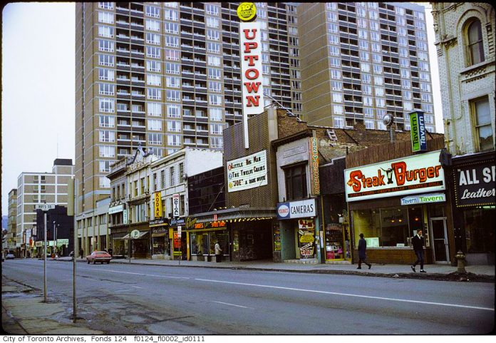 The Uptown Theatre once on Yonge St just south of Bloor St, in Toronto (1972 City of Toronto Archives)