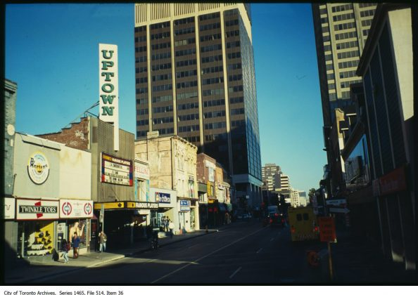 1997 - A view of the Uptown Theatre and Yonge St, looking northwest from Hayden St