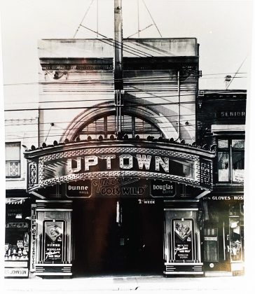 1936 - The Uptown Theatre once at Yonge St, just south of Bloor St, looking west (photo of photo taken at City of Toronto Archives)