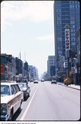 1970/72 - A view of the Uptown Theatre and Yonge St, looking south from Bloor St