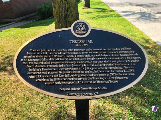 2020 - The Don Jail heritage plaque