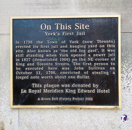 2020 - York's First Jail plaque at King St E & Leader Lane, southwest corner