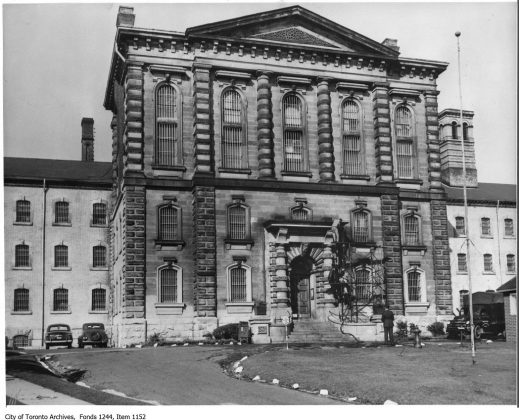 1949 - The centre block and entrance of the Don Jail, looking northeast