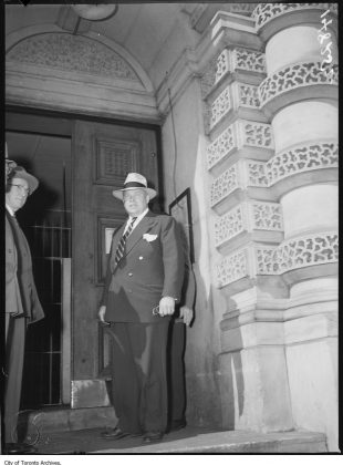 1952 - Mayor Allan Lamport entering the Don Jail after a jail break (City of Toronto Archives, Globe and Mail Fonds, Fonds 1266, Item 148252)