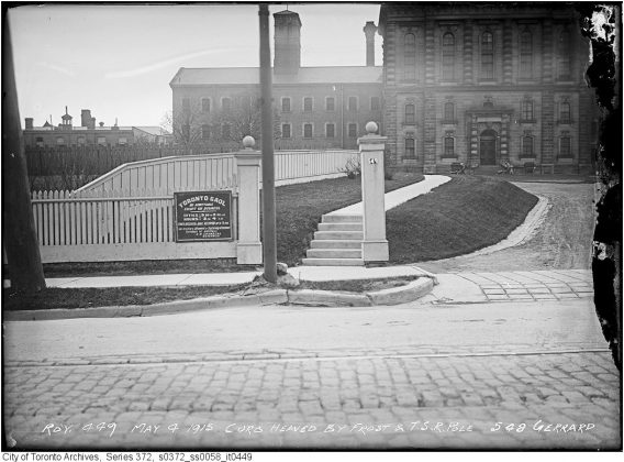 """1915 - The Don Jail with """"Toronto Gaol"""" sign"""