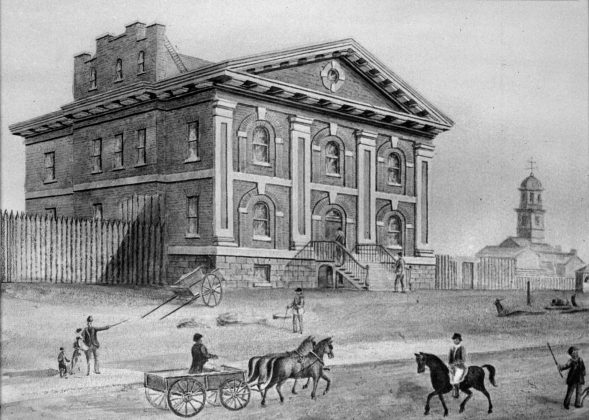 1835 - Sketch of Toronto's second jail (1824 to 1840), once located on the northeast corner of King St E & Toronto St (Toronto Public Library r-269)