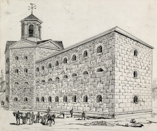 1800's - Sketch of Toronto's third jail (1840 to 1860), once located on the south side of Front St E between Berkeley & Parliament Sts (Toronto Public Library r-4518)