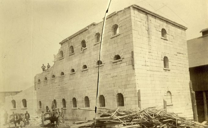 1885 - Demolition of Toronto's third jail (1840 to 1860), once located on the south side of Front St E between Berkeley & Parliament Sts (Toronto Public Library r-4522)