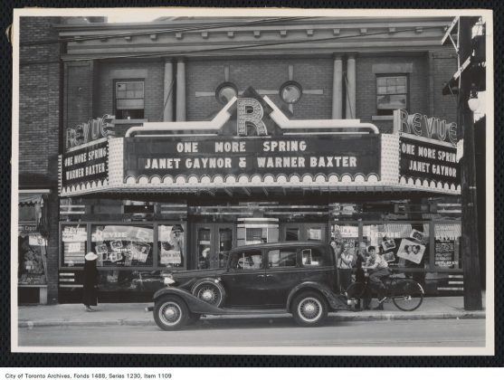 """1935 - The Revue Theatre and marquee advertising the film """"One More Spring"""""""