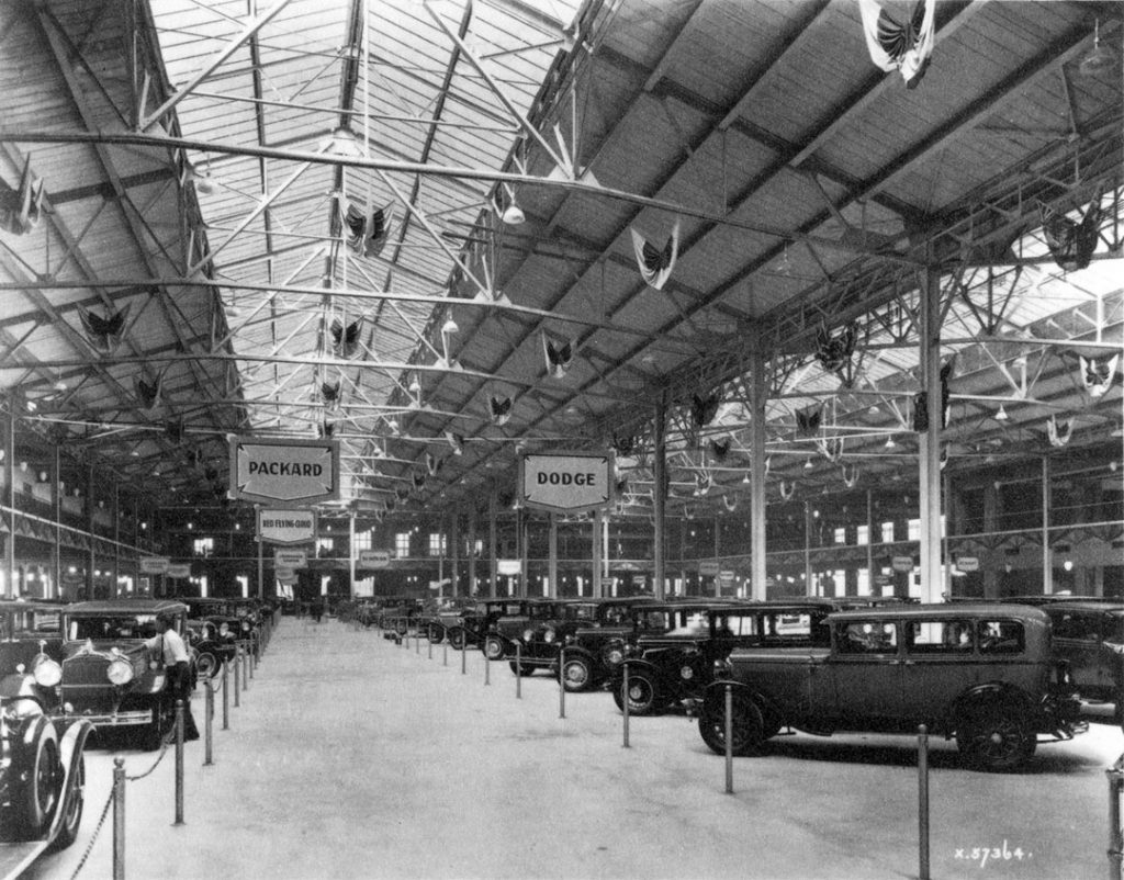 1920's - Automobile show inside the Transportation Building at the Exhibition