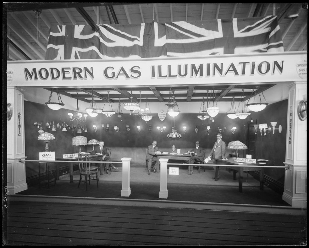 1917 - Exhibit of gas lighting including table lamps, wall and ceiling fixtures at the CNE