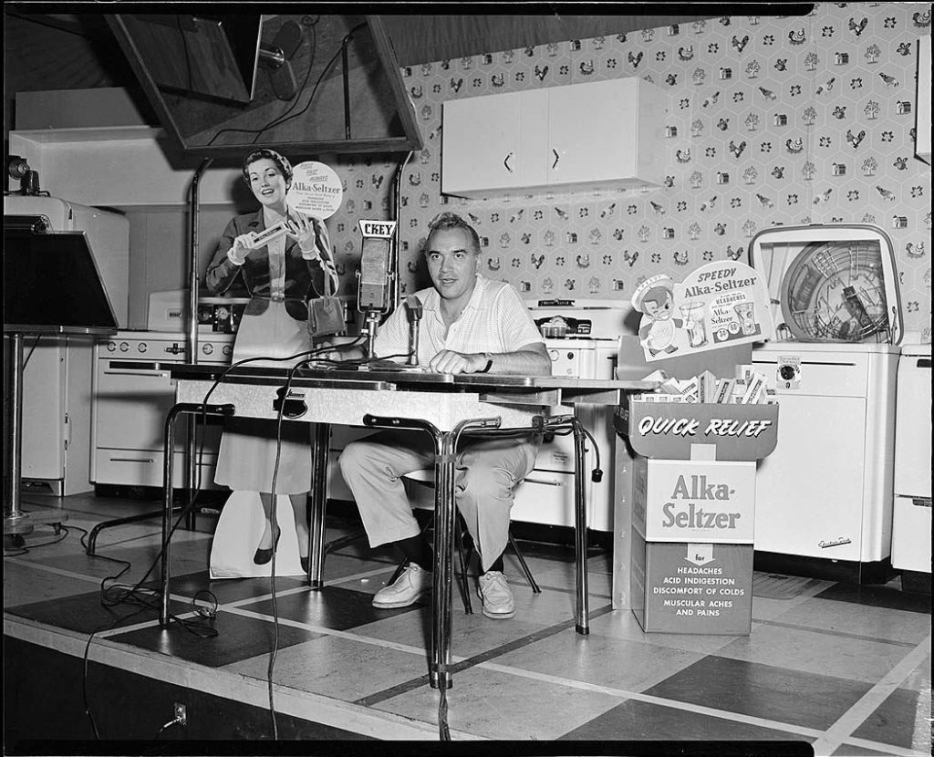1950's - Lorne Greene broadcasting for CKEY and promoting Alka-Seltzer at the CNE
