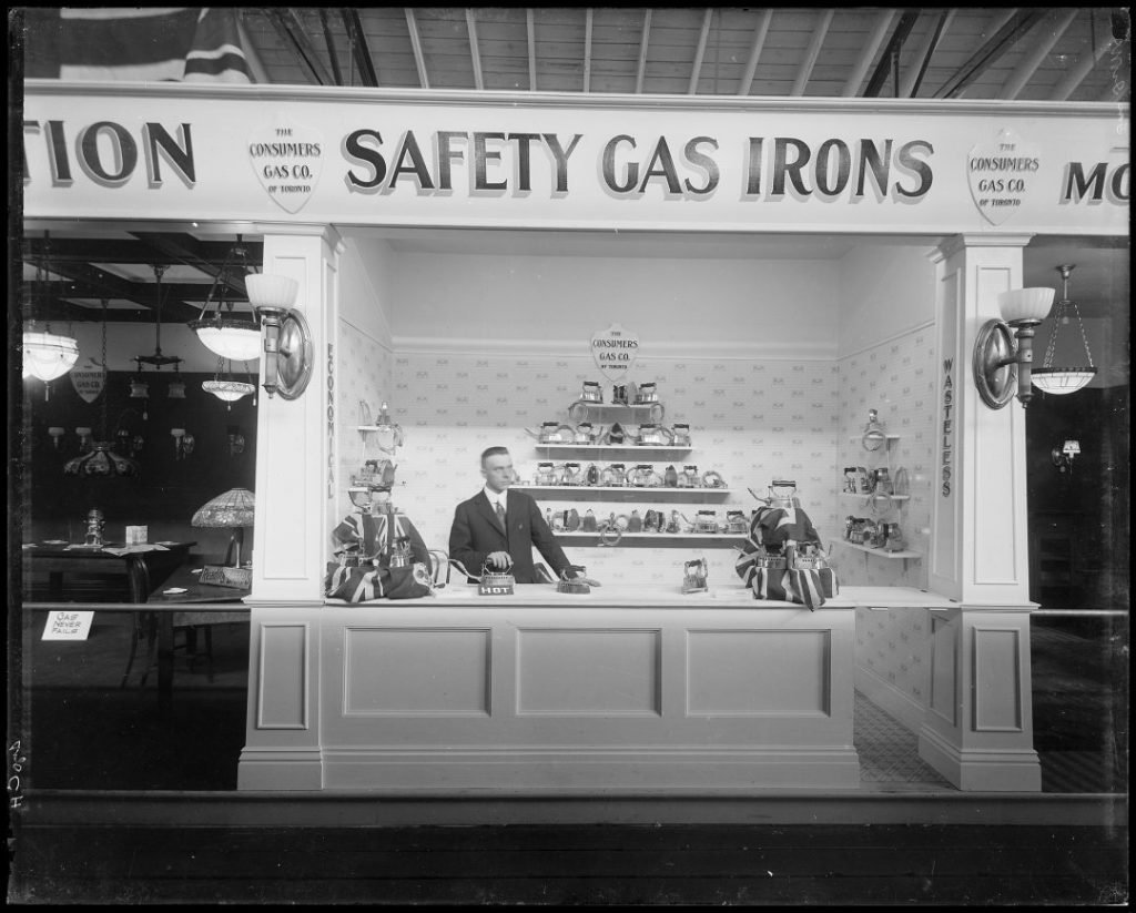 1918 - Consumers Gas Company display of safety gas irons at the CNE