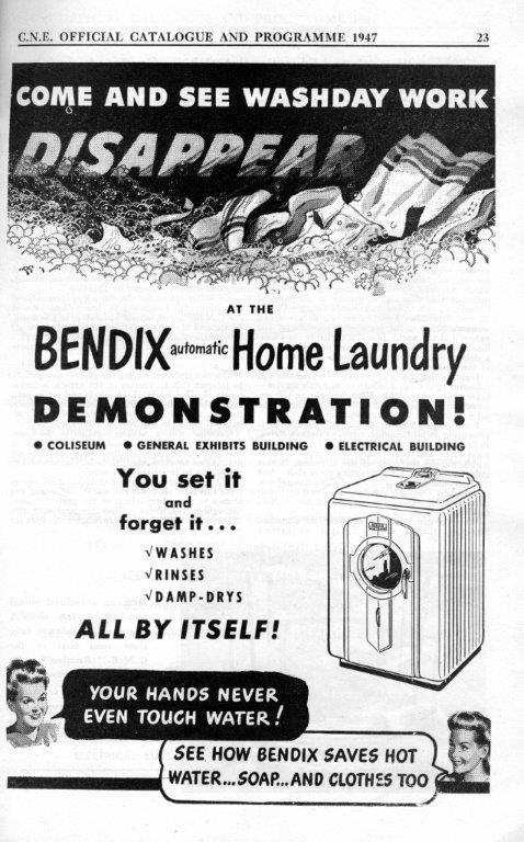 1947 - Ad for Bendix home laundry washer in an Exhibition program